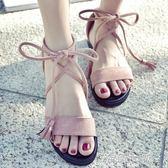 綁帶涼鞋涼鞋女鞋仙女風學生百搭新款夏季平底羅馬時尚交叉綁帶簡約 海角七號
