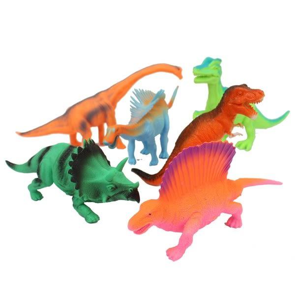 大6隻入恐龍公仔 (螢光色)1641 仿真恐龍模型/一袋入{促299} 軟質空心 侏羅紀恐龍玩具~ST安全玩具