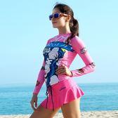 長袖潛水衣 套裝-時尚印花舒適防曬女水母衣2款73mg26【時尚巴黎】