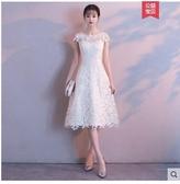 小鄧子香檳色伴娘服2018新款中長款顯瘦聚會宴會訂婚蕾絲小禮服連衣裙女