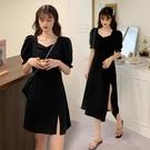 雪紡洋裝 設計感小眾氣質2021年新款春秋收腰雪紡法式復古黑色連衣裙子女夏