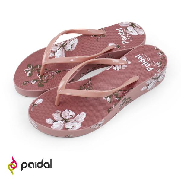 Paidal 水墨之花厚底夾腳涼拖鞋-乾燥玫瑰