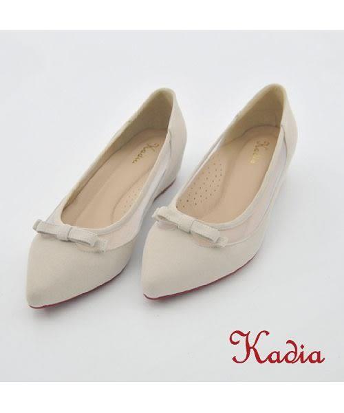 本週下殺★2016新品★Kadia.氣質蝴蝶結尖頭低跟鞋(米白色)