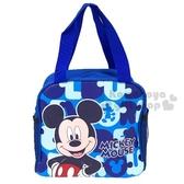 〔小禮堂〕迪士尼 米奇 方形皮質手提便當袋《藍.撐腰》手提袋.野餐袋 4713549-01847