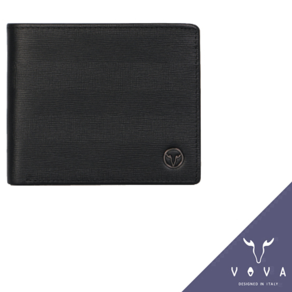 【橘子包包館】VOVA 托斯卡尼系列 真皮 8卡2夾層 男用短夾 VA111W002BK 黑色