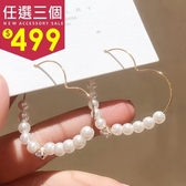 耳飾.氣質珍珠鋯石鏤空設計心型耳環.白鳥麗子