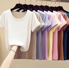 純色T恤女基礎款上衣打底衫 S-5XL修身圓領輕薄高彈短袖T女9色7碼9635#ZLE02快時尚
