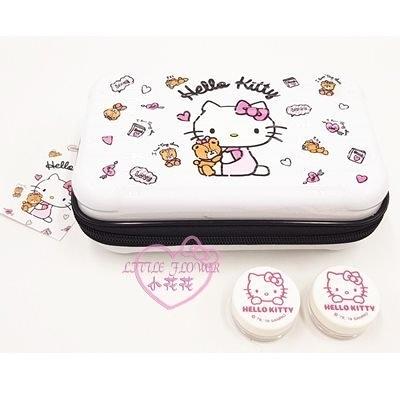 小花花日本精品HelloKitty白色粉色行李箱造型硬殼旅行盥洗包過夜包附小圓保養品罐單一價42231509