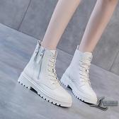 時尚舒適短靴馬丁靴英倫風厚底女靴【邻家小鎮】