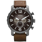 FOSSIL 大世紀戰神三眼計時腕錶/手錶-灰黑/咖啡 JR1424