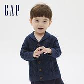 Gap嬰兒 帥氣紳士款紐扣拉鍊針織衫 592832-靛藍色