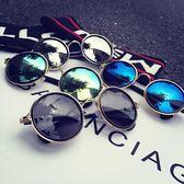 現貨-韓版明星款反光片圓形太陽鏡潮人個性金屬墨鏡男女太陽眼鏡19