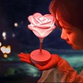 韓國玫瑰花硅膠燈led臥室小夜燈usb充電節能檯燈《小師妹》dj125