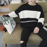 男生條紋毛衣男學生潮流青年個性針織原宿學院風bf寬鬆 美斯特精品