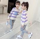 衣童趣(•‿•)韓版女童秋冬新款 可愛女孩印花T恤 休閒長褲 長袖套裝