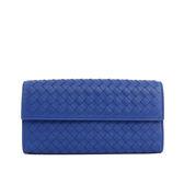 【BOTTEGA VENETA】小羊皮二折壓釦零錢袋長夾(靛藍)150509 V001N 4234