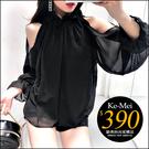 克妹Ke-Mei【ZT59311】泰國潮牌 女神系荷葉小高領性感露肩雪紡上衣