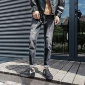 黑色牛仔褲男士韓版直筒九分褲