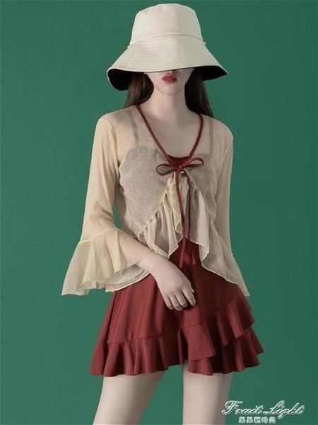 仙女范韓國ins遮肚顯瘦罩衫溫泉保守學生連身泳衣女 果果輕時尚