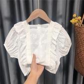 兒童公主襯衣女童仙氣上衣甜美1超仙3歲寶寶短袖白色襯衫名媛韓版