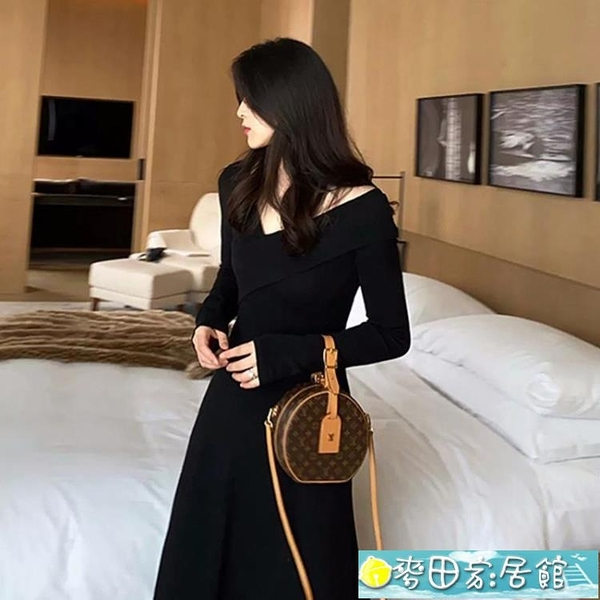禮服 2021新款秋冬季法式赫本風紅色氣質修身輕奢名媛連身裙子跨年禮服 快速出貨