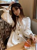 新款夏季韓版V領白色長袖洋裝女很仙的中長款裙子學生A字裙長裙  【韓語空間】