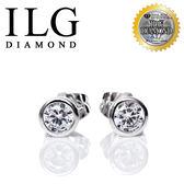 【頂級美國ILG鑽飾】頂級八心八箭擬真鑽石耳環-ER093-75分 義大利包鑲款