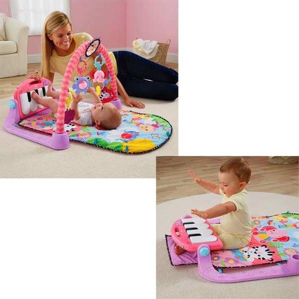 【費雪Fisher Price】 可愛動物小鋼琴健身器 三合一 踢琴踢踢樂 遊戲墊 (粉色) 彌月送禮100%正品