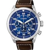 CITIZEN 星辰 光動能飛行員計時手錶-藍x咖啡/45mm CA4210-41L