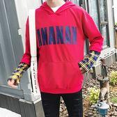 長袖T恤-連帽純色寬鬆字母裝飾男上衣3色73qd37【巴黎精品】