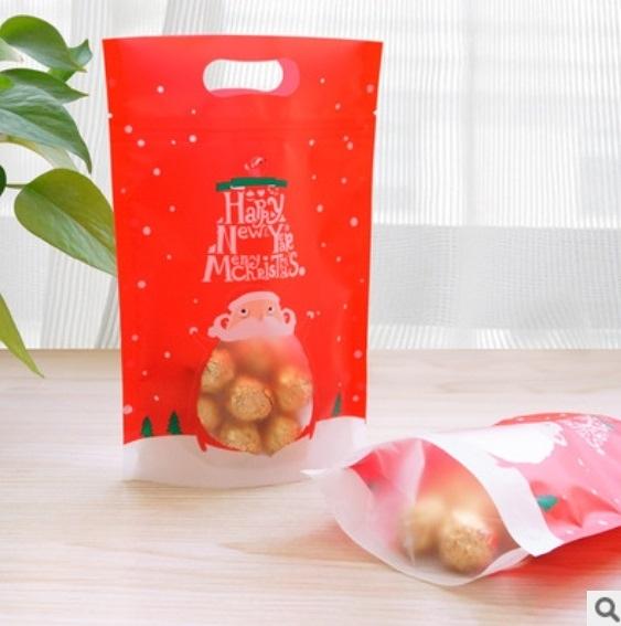 1入 聖誕節自立夾鏈袋 餅乾袋 封口袋 耶誕糖果袋 夾鏈袋 聖誕 包裝袋 密封袋 聖誕節包裝【X070】