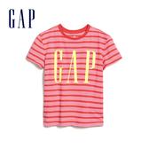Gap女童 Logo圓領條紋短袖T恤 577824-玫紅色