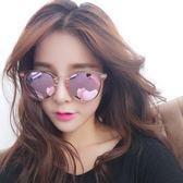 新款韓國女士粉色太陽鏡長臉透明框墨鏡女潮2018新款防紫外線眼鏡 美芭