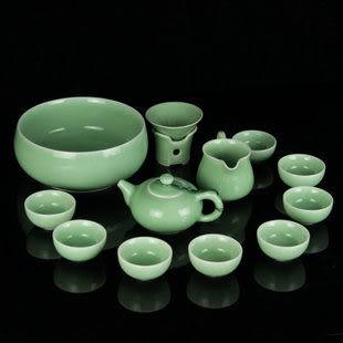龍泉青瓷冰裂釉汝窯茶具整套