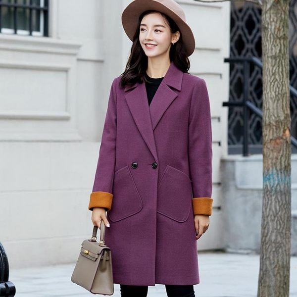 毛呢外套  新款韓版大碼顯瘦呢子大衣時尚純色休閑毛呢外套