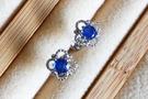 925銀鍍K金天然斯里蘭卡藍寶石 法式穀粒鑲耳環 耳釘