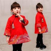 現貨清倉新年 童裝男女童冬裝寶寶公主裙子2中國風新年3唐裝5加厚兒童旗袍洋裝7歲2-12