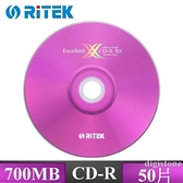 ◆促銷品+免運費◆錸德 Ritek 空白燒錄片 X版 CD-R  700MB 52X 空白光碟片 (50片裸裝X1 )  50PCS