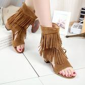 夏季新款魚嘴鏤空靴子女 粗跟高跟流蘇短靴涼靴洞洞鞋靴涼鞋「時尚彩虹屋」