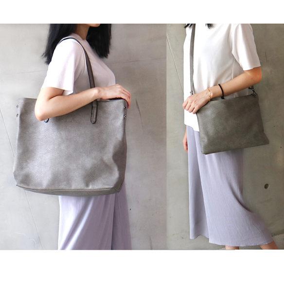 【O'FiFi】新潮大購物袋托特包二件組肩背包 斜背包(灰)