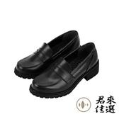 日繫樂福鞋中跟制服鞋女鞋厚底小皮鞋 黑色 咖啡色【君來佳選】