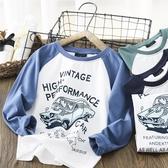 男童長袖上衣 軟棉棉男童長袖t恤2020春秋新款洋氣兒童上衣潮中大童圓領打底衫