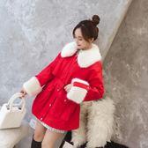 牛仔外套 新款冬季韓版羊羔毛加絨加厚中長款收腰棉衣女牛仔外套