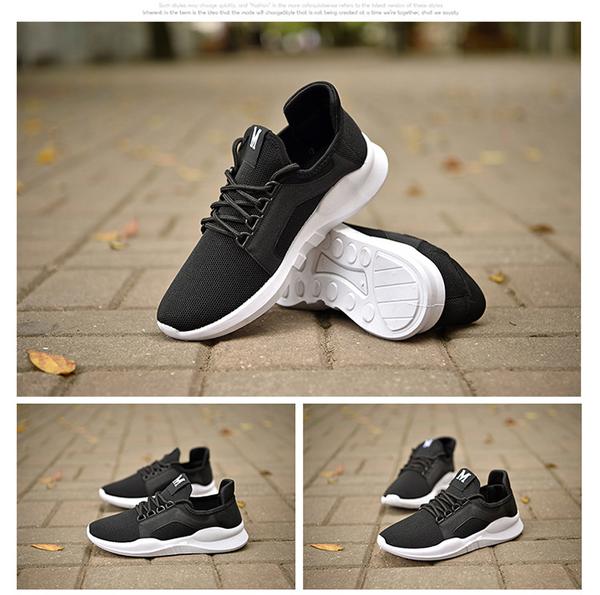 男女同款休閒鞋情侶跑步鞋黑色運動鞋透氣韓版鞋 小宅女