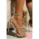 高跟涼鞋 銀色水鑽一字細跟華麗 高跟鞋 晚宴鞋 新娘鞋*KWOOMI-A111