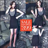 克妹Ke-Mei【ZT45621】韓國東大門 時尚格紋吊帶荷葉裙連身洋裝