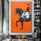 手繪油畫美式輕奢客廳掛畫馬仕裝飾畫豎版愛馬入戶玄關壁畫 蜜拉貝爾
