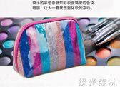 化妝包 防水化妝包女彩色便攜手拿包收納袋旅行洗漱包浴包精美 綠光森林