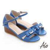 A.S.O 南法香頌 質感釦飾仿木紋楔型涼鞋  藍
