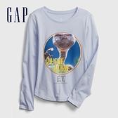 Gap女童 可愛風格印花圓領長袖T恤 618477-淺藍色